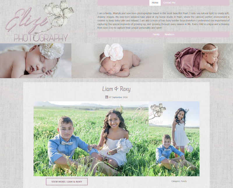 Elize Photography Website